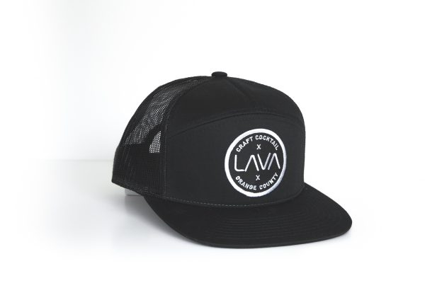 lava solid black premium 7 panel trucker cap hat