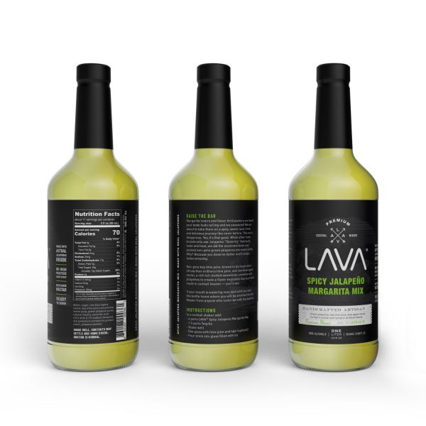 LAVA Premium Spicy Jalapeno Margarita Mix Craft Cocktail Mixer