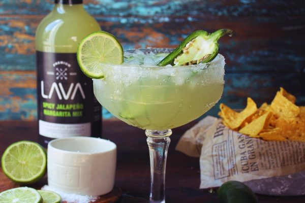 National Margarita Day LAVA Spicy Jalapeno Margarita Mix Recipe | Mixer Craft Cocktail Mix, no high fructose corn syrup, low carb, keto, gluten free, vegan, agave, key lime, jalapenos, jalapeño